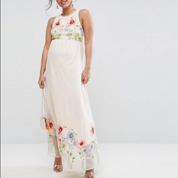 b91fd0ad1c2 NWT ASOS Maternity Embroidery Mesh Maxi Dress